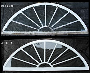 Arched window before and after restoration